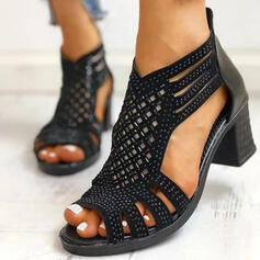 De mujer PU Tacón ancho Salón Encaje con Agujereado zapatos