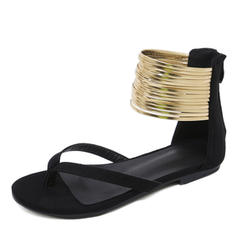 Women's Suede Flat Heel Sandals Flats Peep Toe Flip-Flops With Zipper shoes