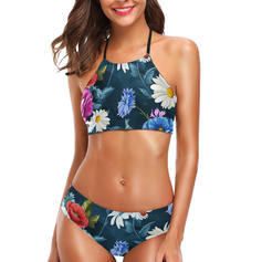 Floral Low Waist Halter Sexy Beautiful Bikinis Swimsuits