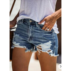 Solid Denim Above Knee Casual Sexy Plus Size Pocket Shirred Ripped Button Pants Shorts Denim & Jeans