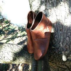 Mulheres Couro Sem salto Sem salto Botas com Fivela sapatos
