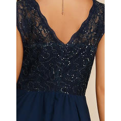 Lace/Sequins/Solid Sleeveless A-line Party/Elegant Maxi Dresses
