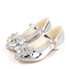 Girl's Sparkling Glitter Low Heel Closed Toe Pumps Flower Girl Shoes With Bowknot Buckle