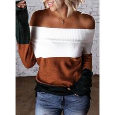 Blok Koloru Dekolt typu Carmen Nieformalny Swetry