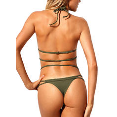 Solid Color High Cut Halter Sexy Bikinis Swimsuits