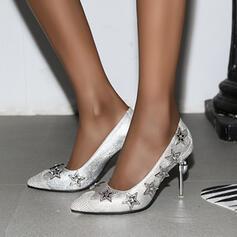 Frauen PU Stöckel Absatz Absatzschuhe mit Strass Schuhe