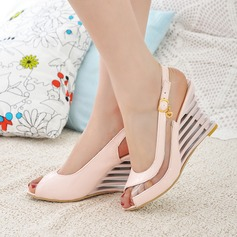 Women's Leatherette Wedge Heel Sandals Wedges Peep Toe Slingbacks With Buckle Hollow-out shoes