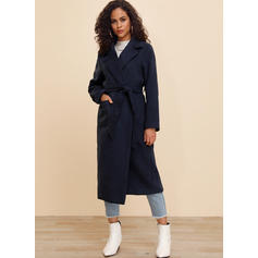 Polyester Lange Ärmel Einfarbig Slim-Fit-Mantel