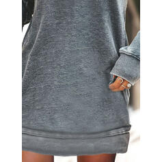 Print/Floral Long Sleeves Shift Above Knee Casual Sweatshirt Dresses