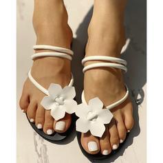 Donna PU Senza tacco Sandalo Ballerine con Fiore scarpe