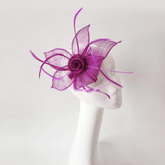 Ladies' Fancy Feather/Net Yarn With Feather Fascinators