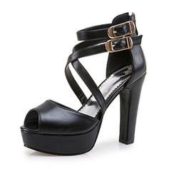 Frauen PU Stämmiger Absatz Sandalen Absatzschuhe Plateauschuh Peep Toe mit Schnalle Schuhe