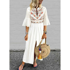 Print/Floral Flare Sleeves A-line Casual/Boho/Vacation Maxi Dresses