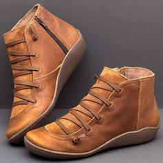 Dla kobiet PU Niski Obcas Kozaki Z Sznurowanie obuwie