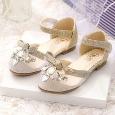Girl's Mesh Flat Heel Closed Toe Flower Girl Shoes With Bowknot Rhinestone