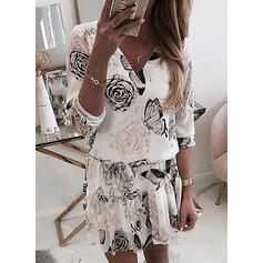 Print/Floral 3/4 Sleeves Sheath Above Knee Casual/Elegant Dresses