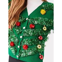 De mujer poliéster Color sólido Suéter feo de navidad