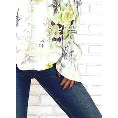 Print Bloemen Cold Shoulder Lange Mouwen Casual Blouses