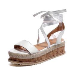 De mujer PU Tipo de tacón Sandalias Cuñas Encaje con Cordones zapatos