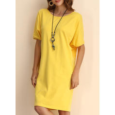 Solid 1/2 Sleeves/Batwing Sleeves Shift Knee Length Casual Dresses