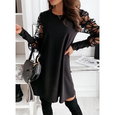 Solid Long Sleeves Sheath Above Knee Little Black/Party Dresses