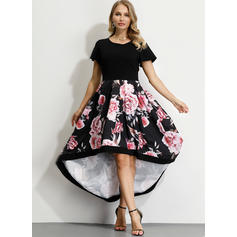 Print/Floral Short Sleeves A-line Asymmetrical Party/Elegant Dresses