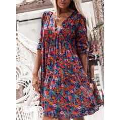 Nadrukowana/Kwiatowy Długie rękawy Koktajlowa Długośc do kolan Casual Tunika Sukienki