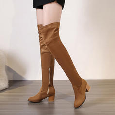 Women's Suede Chunky Heel Pumps Boots Over The Knee Boots With Zipper shoes