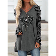 Leopard Beaded Heart V-Neck Long Sleeves Sweatshirt