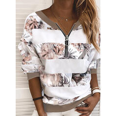 Print Floral V-Neck Long Sleeves Sweatshirt