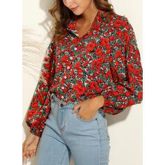 Nadruk Kwiatowy Klapa Długie rękawy Casual Bluski koszulowe