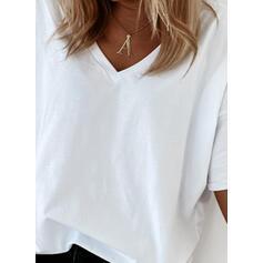 Solide V-hals 1/2 Mouwen T-shirts