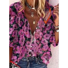 Druck Blumen V-Ausschnitt 3/4 Ärmel Rüschen Lässige Kleidung Blusen