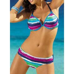 Print Splice color Halter Sexy Colorful Bikinis Swimsuits