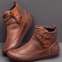 Femmes PU Talon plat Chaussures plates Bout fermé Bottes Bottines avec Boucle chaussures