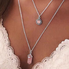 Layered Alloy With Gem Necklaces (Set of 3)