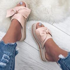 Femmes Tissu Talon plat Sandales À bout ouvert Chaussons avec Bowknot chaussures