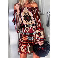 Print Long Sleeves/Flare Sleeves Sheath Above Knee Casual/Vacation Dresses