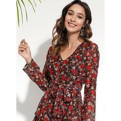 Print/Floral Long Sleeves A-line Above Knee Casual/Elegant Wrap/Skater Dresses