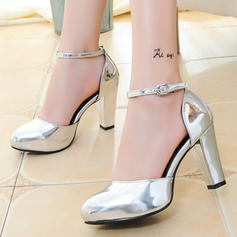 Women's Patent Leather Chunky Heel Sandals Pumps Platform Closed Toe With Buckle shoes