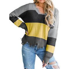 Impresión Trozos de color Cuello en V Casual Suéteres