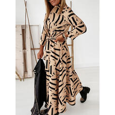 Print Long Sleeves A-line Shirt/Skater Casual Maxi Dresses