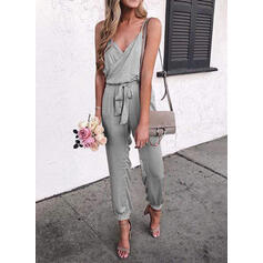 Solide Spaghetti Mouwloos Casual Jumpsuit
