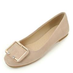 Femmes Suède Talon plat Chaussures plates Bout fermé avec Boucle chaussures