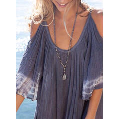 Tie Dye 3/4 Sleeves/Cold Shoulder Sleeve Shift Above Knee Casual/Vacation Tunic Dresses