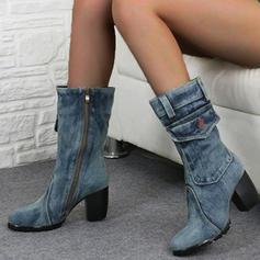 Női PU Chunky sarok Magassarkú Csizma Mid-Calf Csizma -Val Cipzár cipő