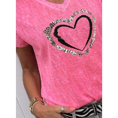Trykk Paljetter Hjerte V-hals Korte ermer Casual T-skjorter
