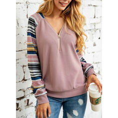 Striped Col V Manches longues Sweat-shirts