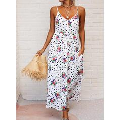Print/Floral/PolkaDot Sleeveless A-line Slip/Skater Casual/Vacation Maxi Dresses