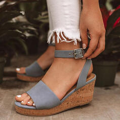 Mulheres PU Plataforma Sandálias Calços sapatos